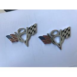 Coppia loghi V8 metallo